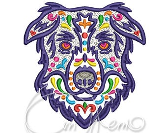 MACHINE EMBROIDERY DESIGN - Calavera border collie, Dia de los muertos, Mexican design, Halloween design, calavera dog, Day of the dead