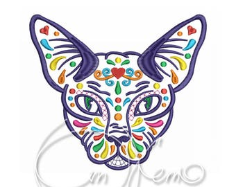 MACHINE EMBROIDERY DESIGN - Calavera Sphynx Cat, Calavera cat, Day of the dead