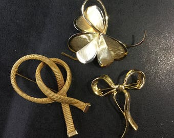 Gold plated brooches ,vintage
