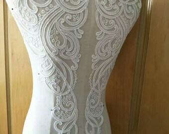1 Pair Super Luxury Lace Appliques Ivory Exquisite Wedding Dress Grown Bridal Veil Bodice