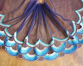 2 Yards Lace Trim Blue Tulle Feather Floral Embroidered 6.69 Inches High Quality