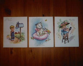 3 Vintage 1950's Unused Thank You Greeting Cards - '50's Thanks Kitten Little Boy Fancy Girl Lady Gift Cards Lot Ephemera -
