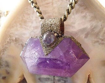 Amethyst Wand with Prehenite and Crushed Pyrite