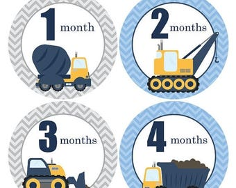 Boy Month Stickers, Baby monthly stickers, Under Construction, Dump Truck, Crane vehicle, Baby Shower gift, Boy Growth stickers, Prop A206