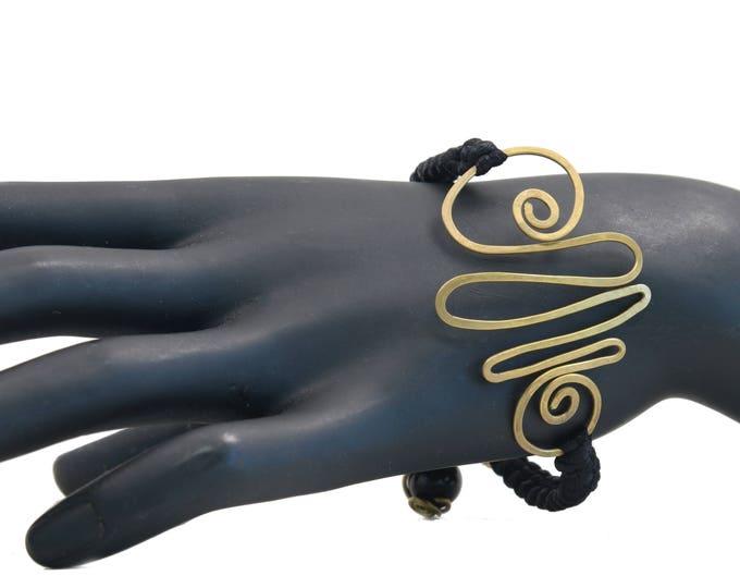 Black Onyx Macrame Gemstone Bracelet for Strength & Determination, Handmade Bracelet for Root Chakra, Reiki, Yoga
