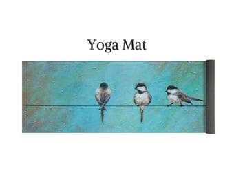 Bird yoga mat, exercise yoga pad, bird gift, Original mermaid art by Nancy Quiaoit