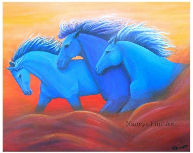 Running horses wall art, colorful Modern horse print painting, equestrian artwork, Original art by Nancy Quiaoit at Nancys Fine Art