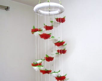 Floral Baby Mobile,Girl,Boy,Hanging,Flower Mobile Nursery,Crib Mobile,Baby Shower decor,Wedding Chandelier,Birthday Gift,Spiral,Art,Red Rose