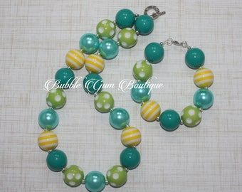 Teal, Yellow and Green Necklace