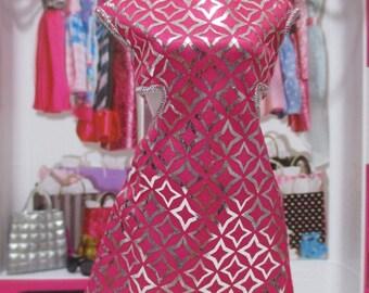BARBIE fashion dress pink & silver open side dress