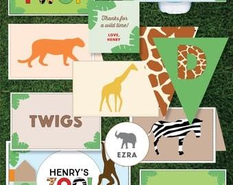 Boys Zoo Themed Birthday - Printable (Animals / Safari / Jungle Theme)