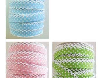 Polka Dot Double Fold Crochet Edge Bias Tape - 1 yard