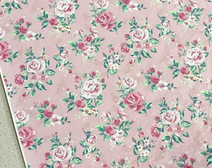 Pink Floral Roses Soft Leatherette Floral PU Leather A4 Sheet 210 x 297mm Floral Leather Bows Floral Leather Headbands