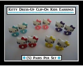 5) Pairs Kitty Girls Clip On Earrings Pretty Earrings Silver Plated Earring Backs Kitty Cat Dress Up Earrings Girls Party Play Earrings