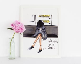 Will Work For A Chanel (Fashion Illustration Print)