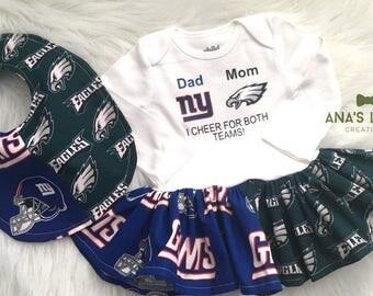 Custom House Divided (Philadelphia Eagles- New York Giants) I Cheer For Both Teams Bodysuit Dress & Bib 2pc Set