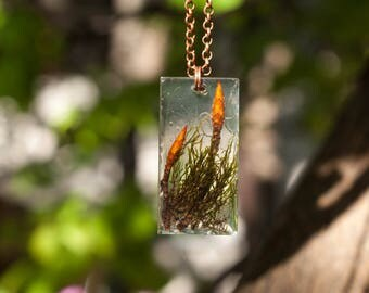 Pendant with dried herbage, botanical nature, flowers pendant, gift for her, resin pendant,modern jewelrey, gift for her, brown pendant