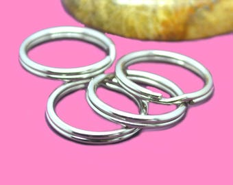 50 jumprings double 16mm silver color