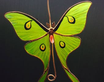 Luna Moth stained glass suncatcher
