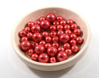 Red Glass Pearls In Two Sizes