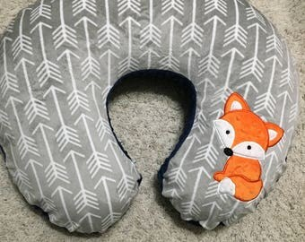 Minky Boppy Cover - Nursing Pillow Cover - Silver and white Arrow Minky with Orange Fox or Name - made to fit a Boppy Bare Naked Pillow