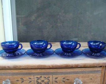 Antique New Martinsville Moondrops Cobalt Blue Glass Coffee Or Tea Cup And Saucer Set Of Four Cups And Saucers Depression Era Set Of 4