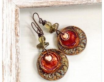 Boho ceramic earrings - red and gold earrings - ceramic discs