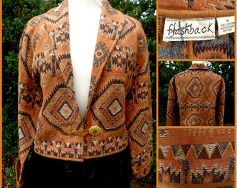 Vintage Jacket  Rustic Mexiicon South Andes Tibetan Style  Woven By Flash Back Made In The USA Black Copper l
