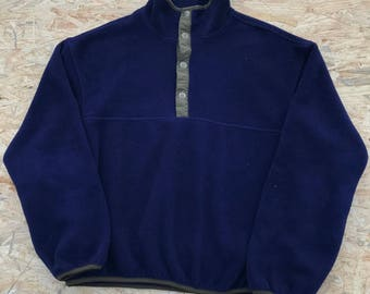 Vintage Woolrich Fleece Pullover Sweatshirt XL Navy Blue USA made