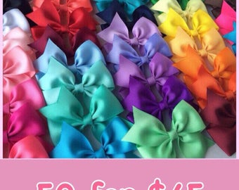 50 Solid Color Half Pinwheel Bows, 3.5 inch Hairbows, Pick your colors, Dollar Bows