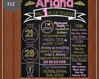 Princess First Birthday Chalkboard - Digital - Pink and Gold First Birthday - Princess 1st Birthday - Girls First Birthday Poster - Glitter