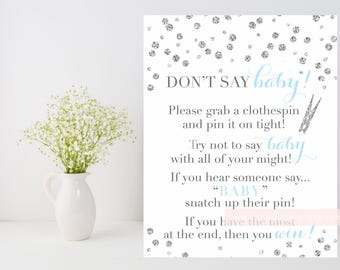 Don't Say Baby Game Printable, Glitter confetti shower game downloadable, silver and baby blue printable, DIY, INSTANT DOWNLOAD, 010