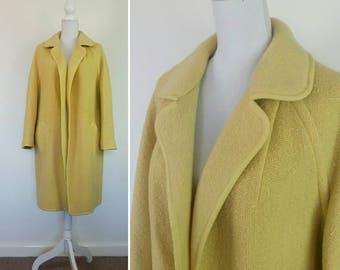 Vintage 50s Lemon Yellow Reversible Wool Coat size M/L