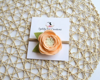 Flower Headband, Baby Headband, Single Bloom Headband, Felt Flower Headband, Peach Flower