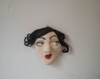 Eliza, Women's head/Pappmache/Paperclay, for the wall, for hanging