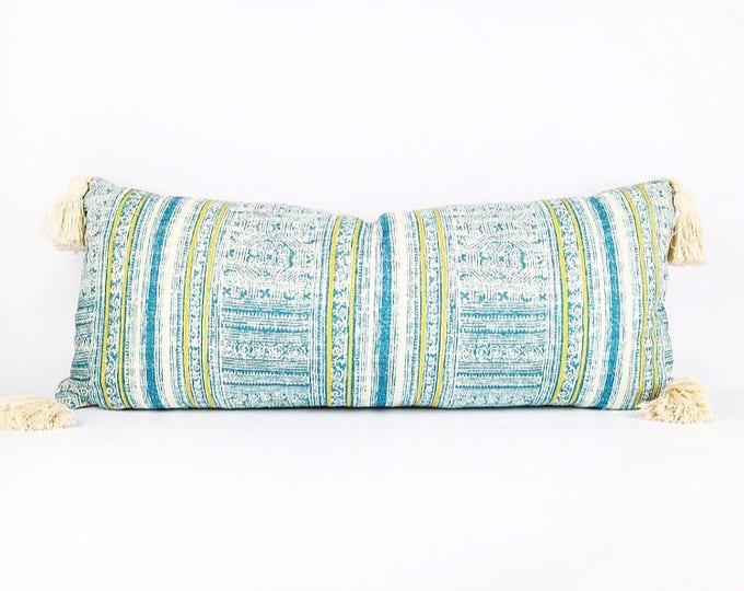 Tribal Hmong Batik Printed Textile And Tassel Lumbar Pillow Cover 12x28