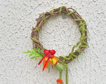 Wreath Wisteria Wool green applications vintage plastic beads felt orange decoration doors decoration OOAK walls, made in Italy