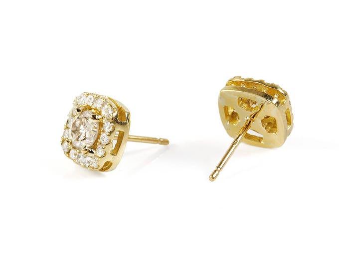 Diamond earrings-Yellow gold stud earrings-inspirational earrings-anniversary gifts-jewelry for her-Gift for Her-Birthday gift for her