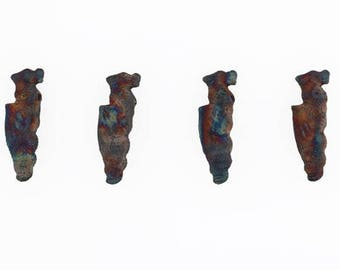 Multicolored Matte Raku 3-D Perched Dragon Ceramic Beads