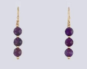 14k Gold Filled Amethyst Triple Bead Dangle Earrings, Beauty & Fashion Jewelry