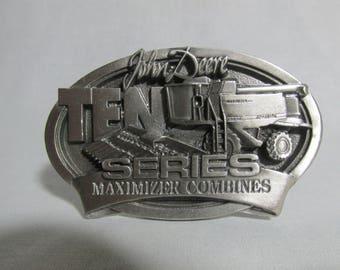 John Deere advertising belt buckle Ten Series Maximizer combines 1997