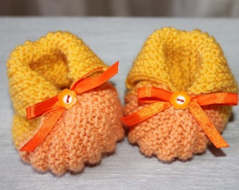 Pumpkin orange and yellow 3/6 months baby booties