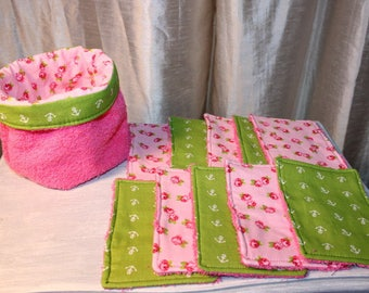 set of 10 wipes sponges with her basket