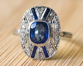 Platinum Art Deco 2.03 Carat Sapphire Ring - Art Deco Engagement Ring, Vintage Engagement Ring, Size 9.5, Antique Ring, Platinum Ring
