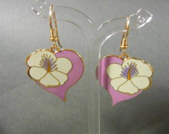 Laurel Burch Hiibiscus Heart Earrings, Laurel Burch earrings, Laurel Burch pink flower earrings, Laurel Burch, Laurel Burch dangle earrings