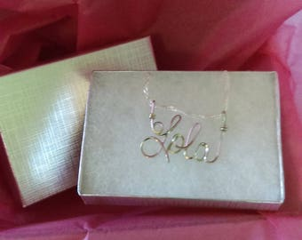 "LOLA   or  ANY  name pendant  handmade for you!  Wire Name on 18"" chain ,PERSONALIZED free shipping!"