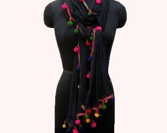 Black scarf/ plain scarf/ pom pom scarf/ trendy scarf/ fashion scarf/ dupatta/ light weight scarf/ lace scarf/ gift scarf / gift ideas.