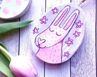 Easter Decoration Happy Easter Rabbit, Egg Hand Painted Ornament, Cute Easter Bunny Illustrated Decor, Cute Pastel Easter Egg Decorations.