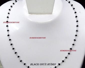 Black Onyx/ Tanzanite/ Multi Color/ Red Garnet Hydro Faceted Rondelle Bead Wire Wrapped Silver Plated Rosary Beaded Chain Necklace