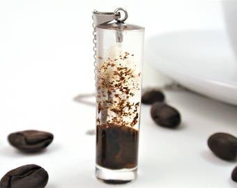 Natural Coffee bean necklace, Coffee jewelry, Botanical Jewelry, Terrarium jewelry, Coffee lovers jewelry, Nature gift, Resin jewelry